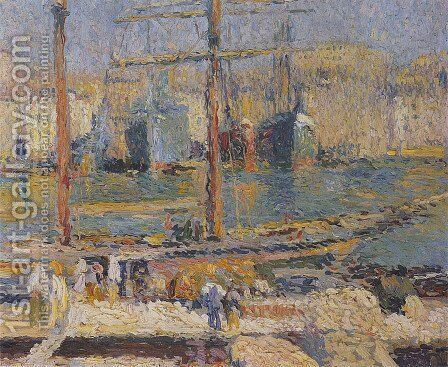 Boats in the Port of Marseille by Henri Martin - Reproduction Oil Painting