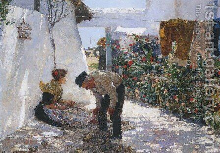 Fishing Nets by Joaquin Sorolla y Bastida - Reproduction Oil Painting