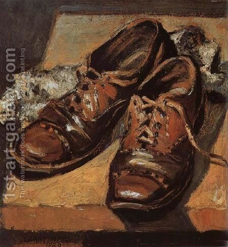 Old shoes by Grant Wood - Reproduction Oil Painting