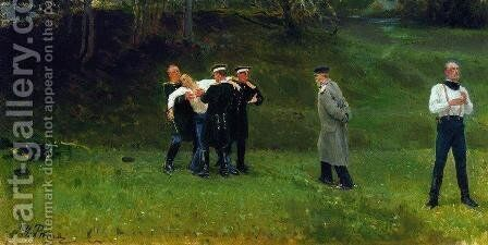 The Duel by Ilya Efimovich Efimovich Repin - Reproduction Oil Painting