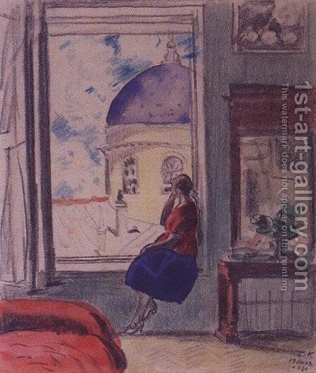 Interior. The female figure at the window (in studio) by Boris Kustodiev - Reproduction Oil Painting