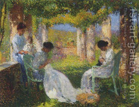 Women Sewing by Henri Martin - Reproduction Oil Painting