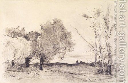 Willows and White Poplars by Jean-Baptiste-Camille Corot - Reproduction Oil Painting