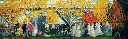 Village  Holiday by Boris Kustodiev - Reproduction Oil Painting