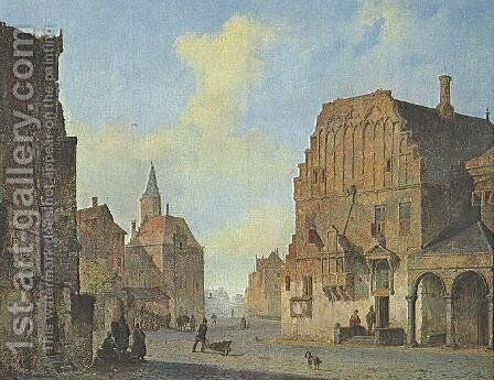 View of the old town hall in Arnhem, with fantasy elements by Cornelis Springer - Reproduction Oil Painting