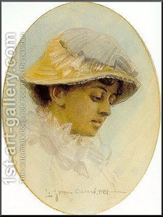 Emma Lamm in a straw hat by Anders Zorn - Reproduction Oil Painting