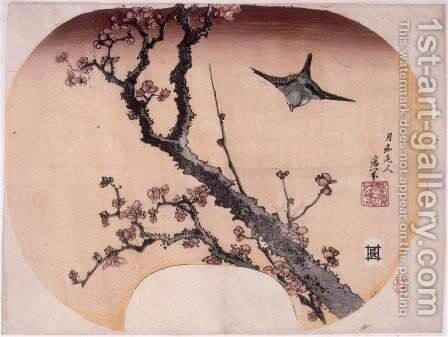 Cherry Blossoms and Warbler by Katsushika Hokusai - Reproduction Oil Painting