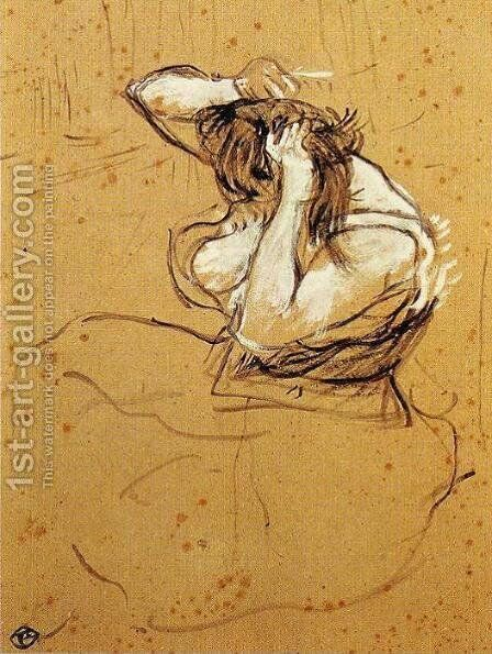 Woman Brushing Her Hair by Toulouse-Lautrec - Reproduction Oil Painting