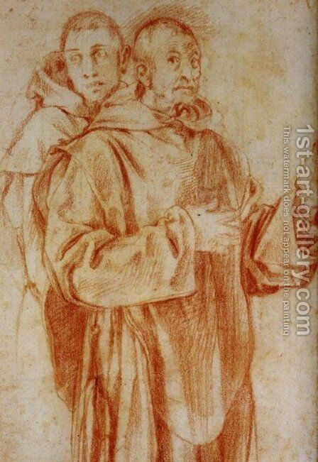 Study of Two Carthusian Monks by (Jacopo Carucci) Pontormo - Reproduction Oil Painting