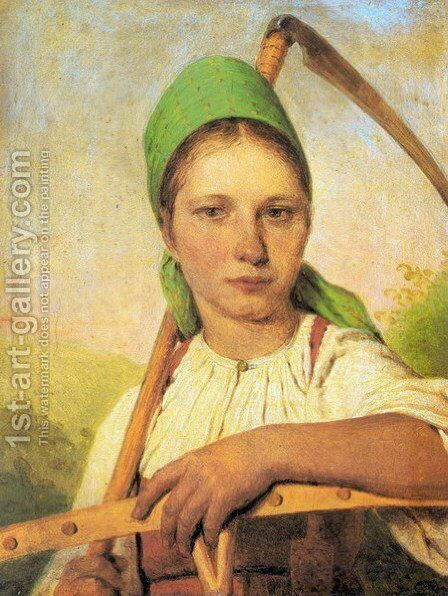 A Peasant Woman with Scythe and Rake by Aleksei Gavrilovich Venetsianov - Reproduction Oil Painting