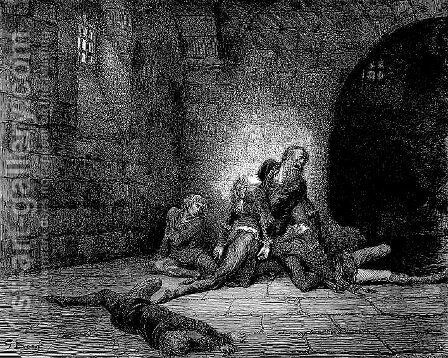 Ugolino and Gaddo by Gustave Dore - Reproduction Oil Painting