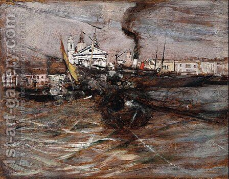 Ships in Venice by Giovanni Boldini - Reproduction Oil Painting