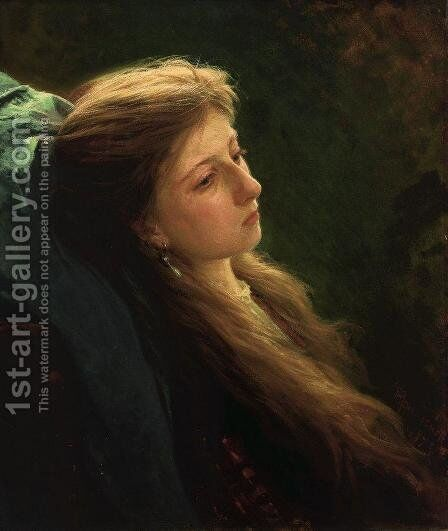 A girl with her scythe by Ivan Nikolaevich Kramskoy - Reproduction Oil Painting