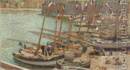 Collioure port July 14 by Henri Martin - Reproduction Oil Painting