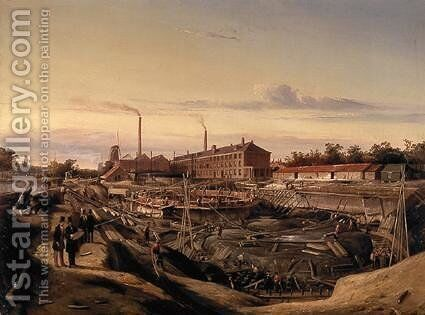 The construction of two gasholders for the Hollandsche Gazfabriek on the Schans by Cornelis Springer - Reproduction Oil Painting