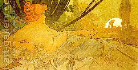 Dawn by Alphonse Maria Mucha - Reproduction Oil Painting