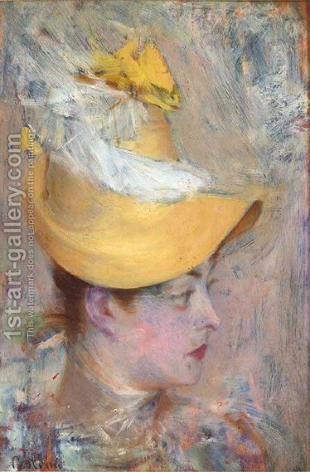 Head of a Lady with Yellow Sleeve by Giovanni Boldini - Reproduction Oil Painting