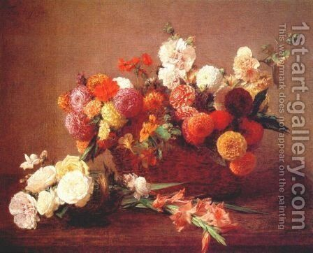 The Flowers of Middle Summer by Ignace Henri Jean Fantin-Latour - Reproduction Oil Painting