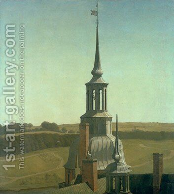 One of the Small Towers on Frederiksborg Castle by Christen Kobke - Reproduction Oil Painting