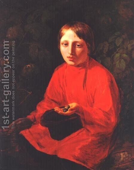 A Boy in a Red Shirt by Aleksei Gavrilovich Venetsianov - Reproduction Oil Painting