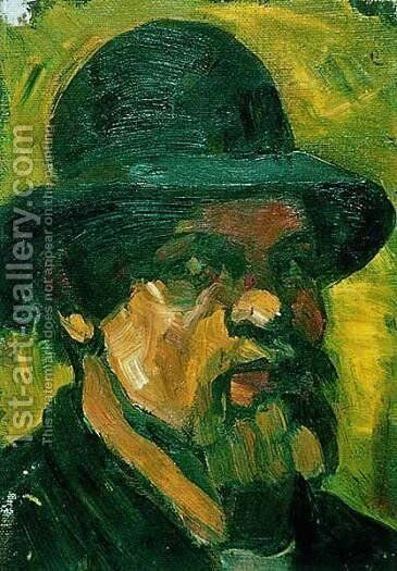 Self portrait with hat 3 by Theo van Doesburg - Reproduction Oil Painting