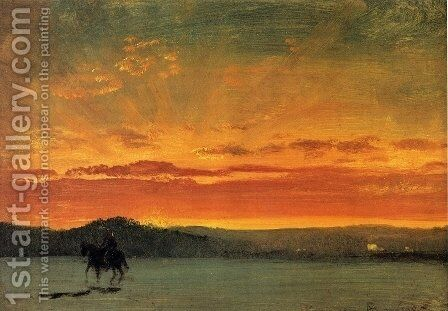 Indian Rider at Sunset by Albert Bierstadt - Reproduction Oil Painting