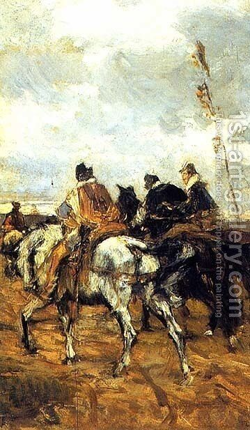 Horses and Knights by Giovanni Boldini - Reproduction Oil Painting