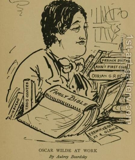 Oscar Wilde at Work by Aubrey Vincent Beardsley - Reproduction Oil Painting