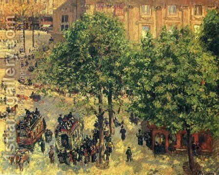 Place du Theatre-Francais, Spring by Camille Pissarro - Reproduction Oil Painting