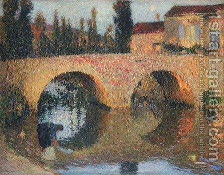 Woman Washing Clothes in River by Henri Martin - Reproduction Oil Painting