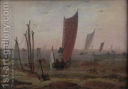 Ships sailing off in the morning by Caspar David Friedrich - Reproduction Oil Painting