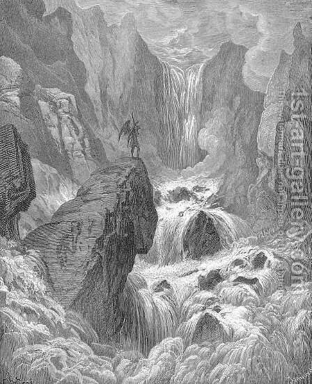 In with the river sunk, and with it rose Satan by Gustave Dore - Reproduction Oil Painting