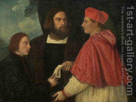 Girolamo and Cardinal Marco Corner Investing Marco, Abbot of Carrara, with His Benefice by Tiziano Vecellio (Titian) - Reproduction Oil Painting
