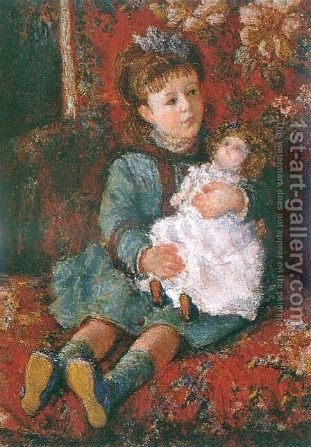Portrait of Germaine Hoschede with a Doll by Claude Oscar Monet - Reproduction Oil Painting