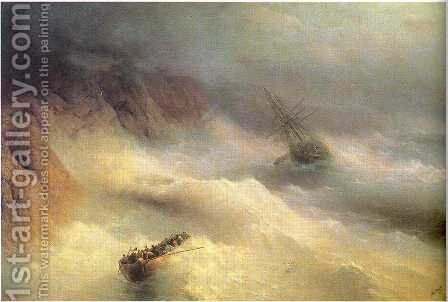 Tempest by cape Aiya by Ivan Konstantinovich Aivazovsky - Reproduction Oil Painting