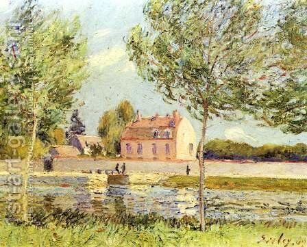 Houses on the banks of the Loing by Alfred Sisley - Reproduction Oil Painting