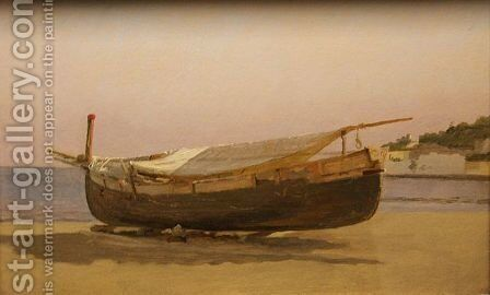 Boat dragged on shore by Christen Kobke - Reproduction Oil Painting