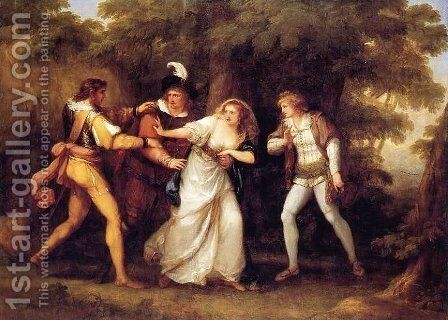 Valentine Rescues Silvia in 'The Two Gentlemen of Verona' by Angelica Kauffmann - Reproduction Oil Painting