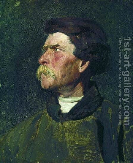 Head of peasant by Ilya Efimovich Efimovich Repin - Reproduction Oil Painting
