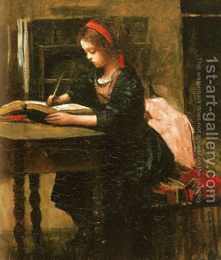 Young Girl Learning to Write by Jean-Baptiste-Camille Corot - Reproduction Oil Painting