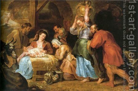 Adoration of the Shepherds 6 by Rubens - Reproduction Oil Painting