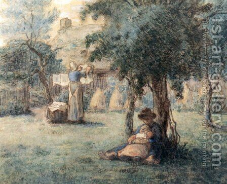 Woman Hanging Her Laundry by Jean-Francois Millet - Reproduction Oil Painting