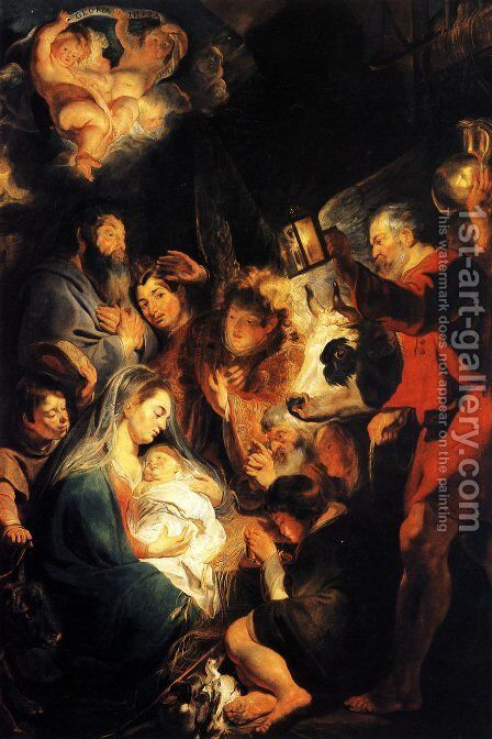 Adoration of the Shepherds 3 by Jacob Jordaens - Reproduction Oil Painting