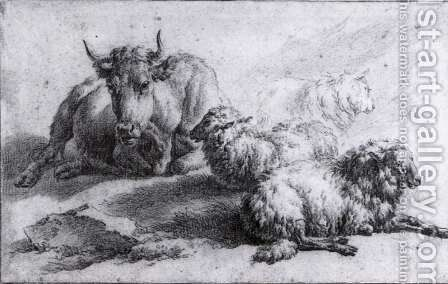 A Cow and Three Sheep by Adriaen Van De Velde - Reproduction Oil Painting