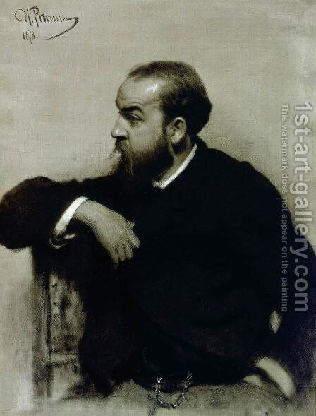 Portrait of the artist R. S. Levitsky by Ilya Efimovich Efimovich Repin - Reproduction Oil Painting