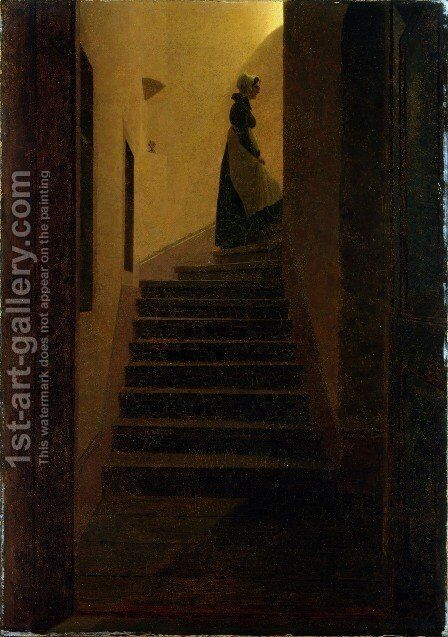 Woman on the stairs by Caspar David Friedrich - Reproduction Oil Painting