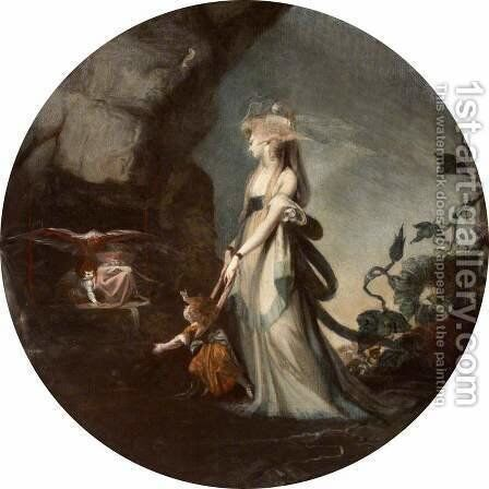 Mamillius Conjuring up Sprites and Goblins for His Mother, Hermione by Johann Henry Fuseli - Reproduction Oil Painting