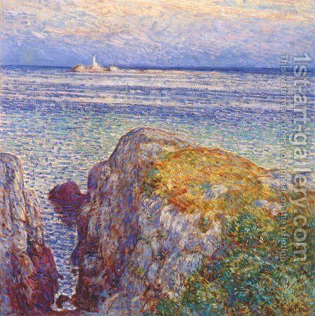 White island light (isles of shoals at sundown) by Frederick Childe Hassam - Reproduction Oil Painting