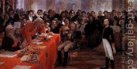 A. Pushkin on the act in the Lyceum on Jan. 8, 1815 reads his poem memories in Tsarskoe Selo by Ilya Efimovich Efimovich Repin - Reproduction Oil Painting