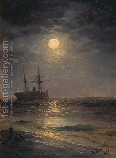 Lunar night 3 by Ivan Konstantinovich Aivazovsky - Reproduction Oil Painting